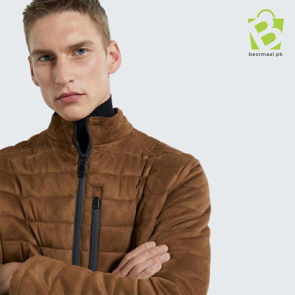 ZARA Men Faux Suede Puffer Jacket - Brown - BestMaal