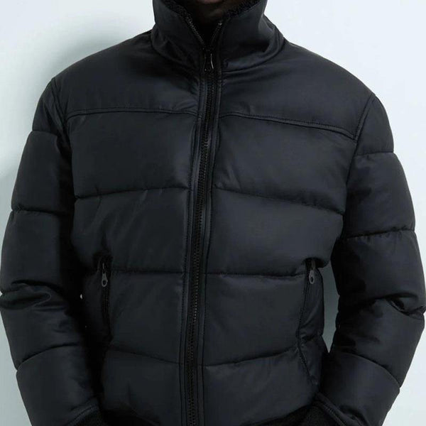 ZARA Rubberised Puffer Jacket - Black - BestMaal