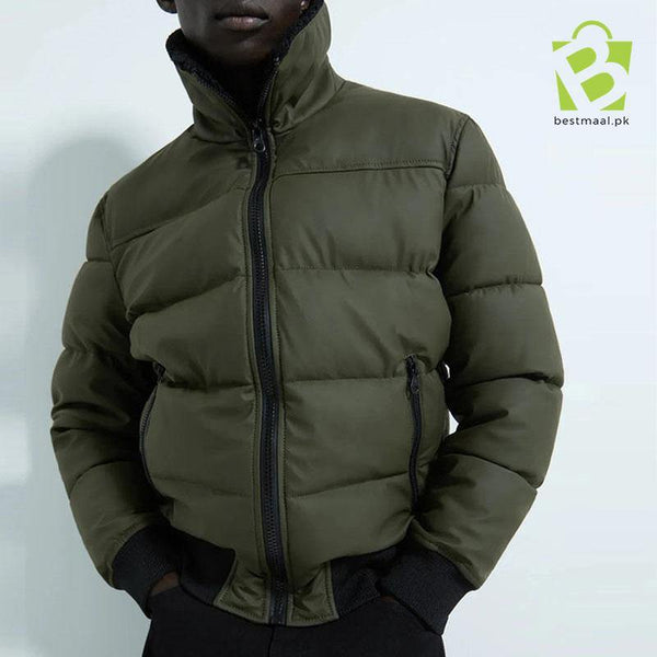 ZARA Rubberised Puffer Jacket - Green - BestMaal