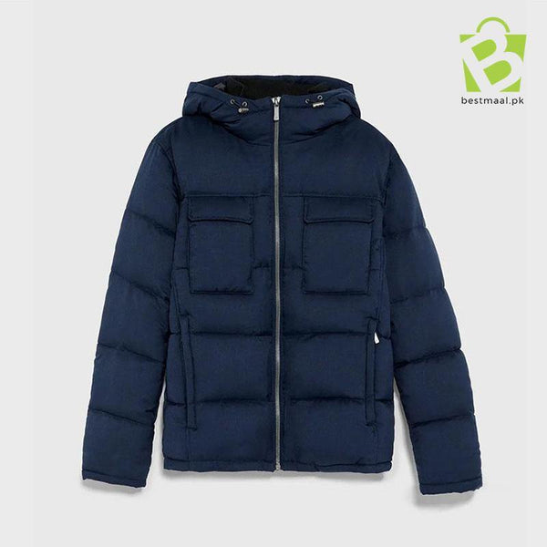 ZARA Wool Effect Puffer Jacket - Navy Blue - BestMaal