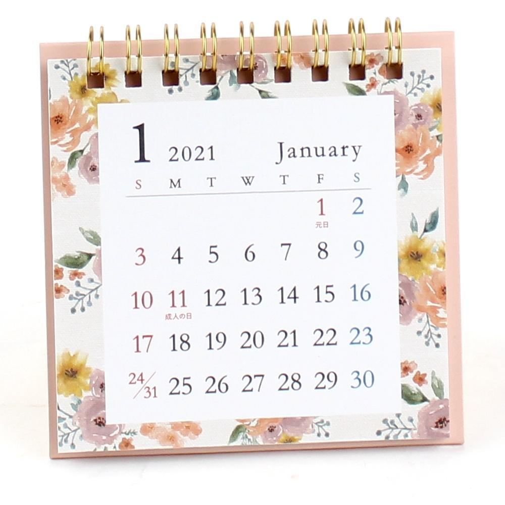 2021 Desk Calendar (Paper/Iron/Flower/9.6x9.5cm)
