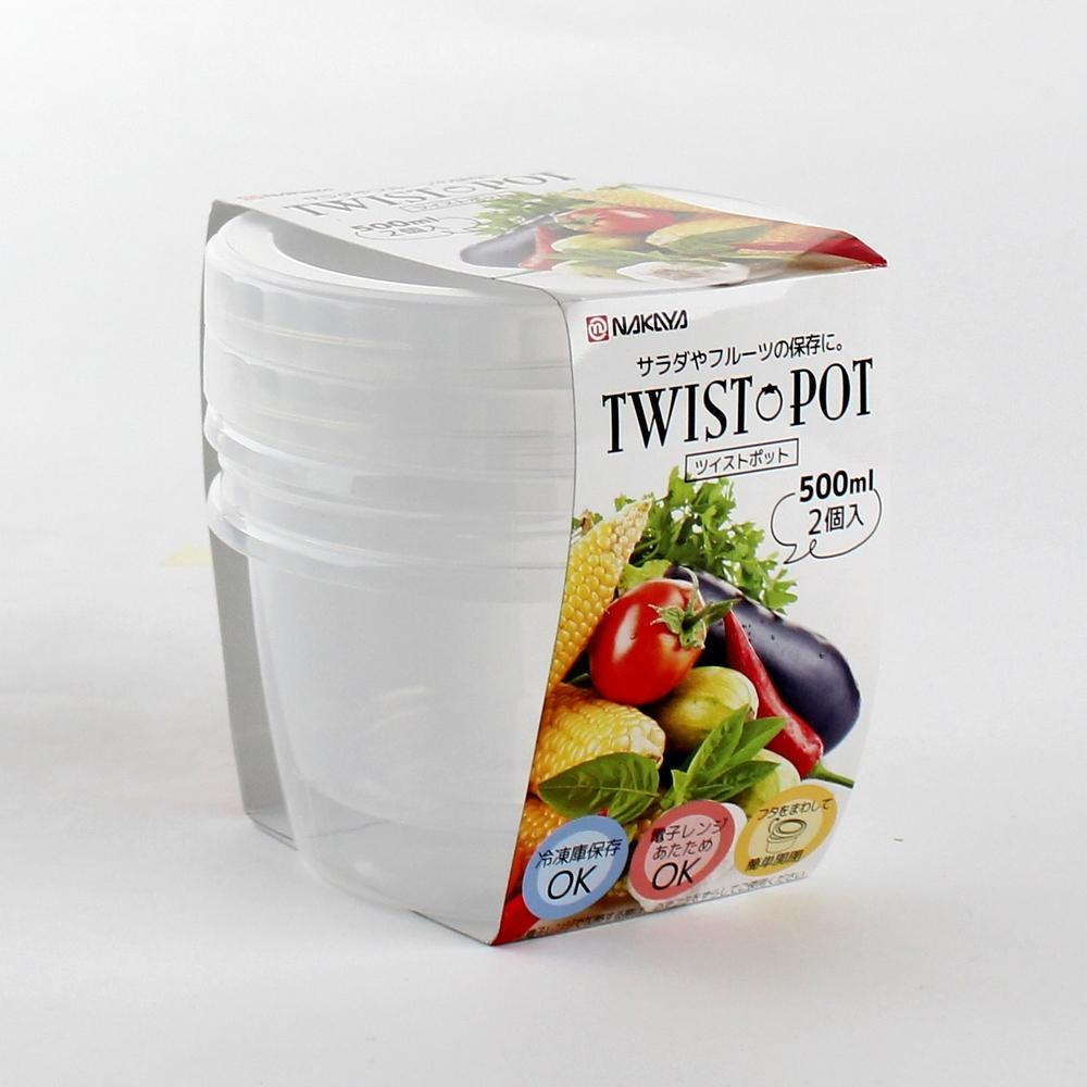 Plastic Container - 500mL (PP/w/Lid/CL/�EE€�EEU11.4x8.5cm / 500mL (2pcs))