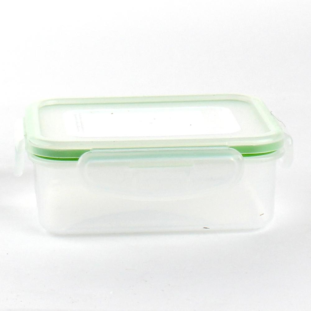 Plastic Food Container (Rect/CL/GR/13.8x11x5cm / 340mL)