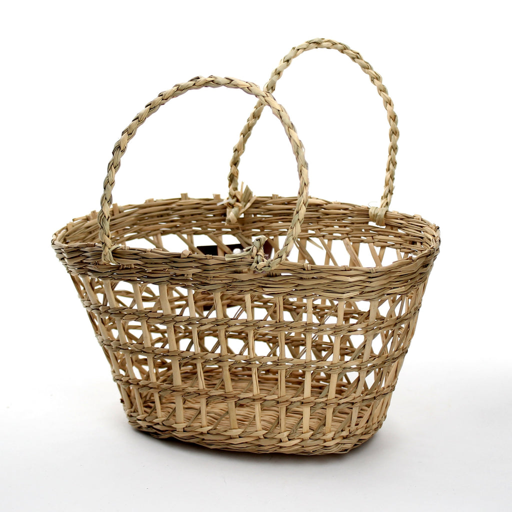 Basket (Rush Grass/w/Handle/Oval/BN)