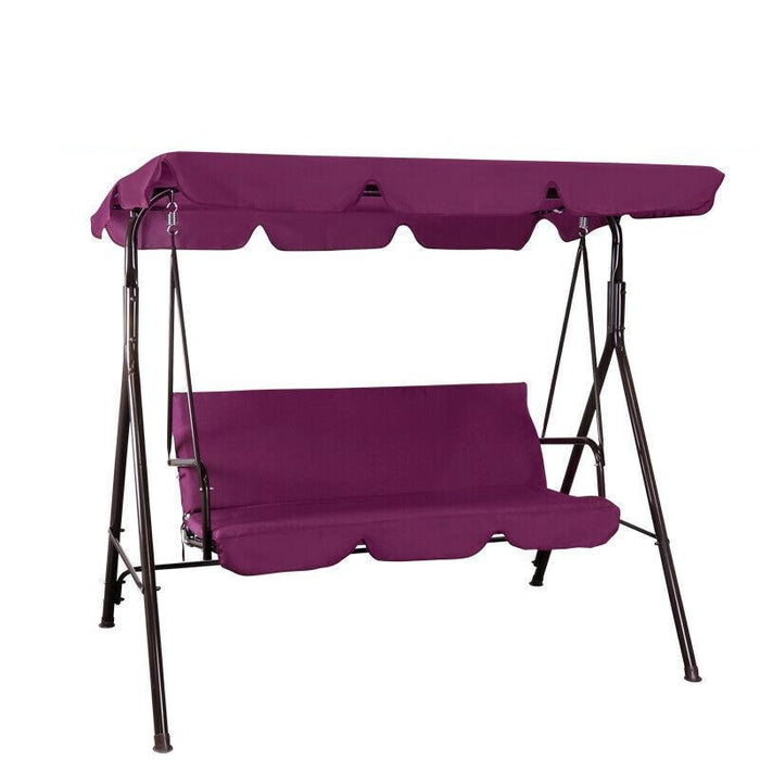 Patio Porch Swing Canopy Chair | Outdoor Lounge Hammock 3-Person Seats | Burgundy