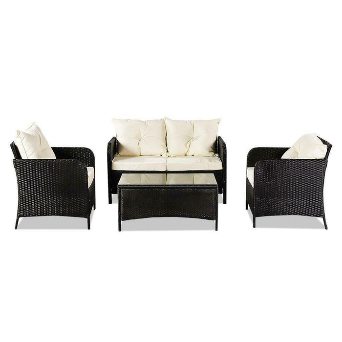 Outdoor Furniture Patio Rattan Wicker Sofa Set | 4 Pc Black Cushioned Couch