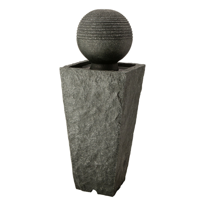 Glitzhome Rippling Floating Sphere | Pedestal Outdoor Water Fountain with LED Lights