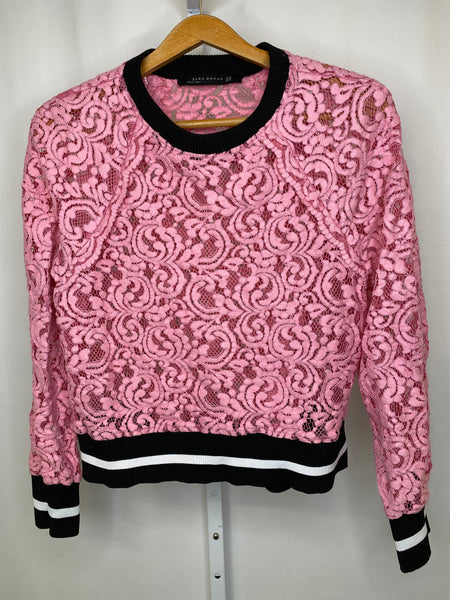 ZARA Women's Pink Lace Long Sleeve