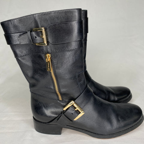 Michael Kors Gansevoort leather mid-calf biker boots