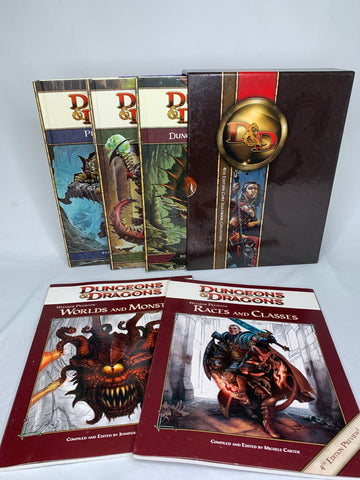 Dungeons and Dragons 4th Edition Rulebook Collection and 2 4th Edition Previews