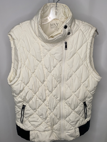 Andrew Marc New York Performance Off White Quilted Puffer Vest
