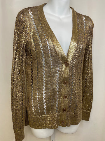 BCBG MAXAZRIA Metallic Coated Gold Cardigan Sweater