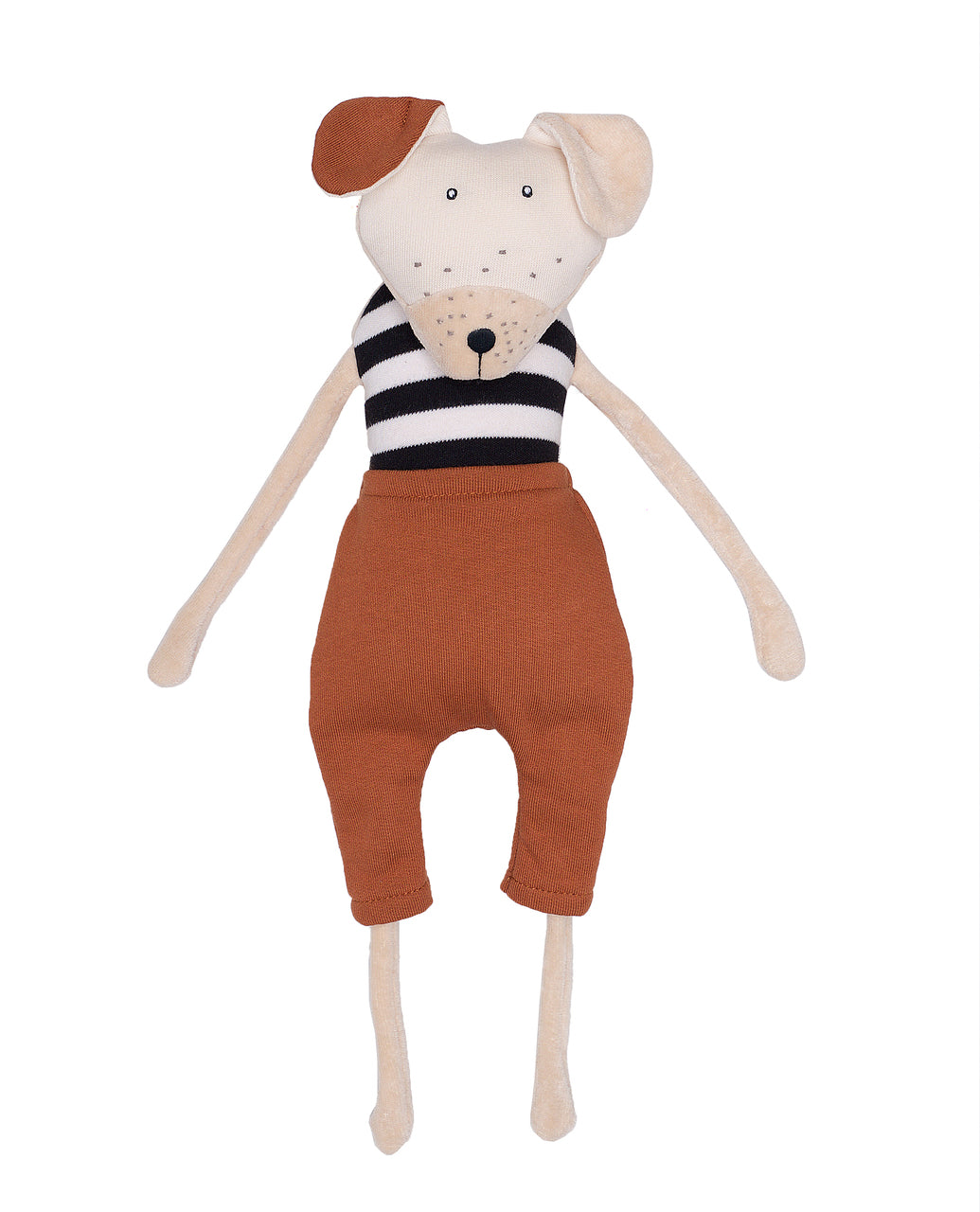 Soft Toy Dog Brown Pants Wooly Organic T-83-D-06