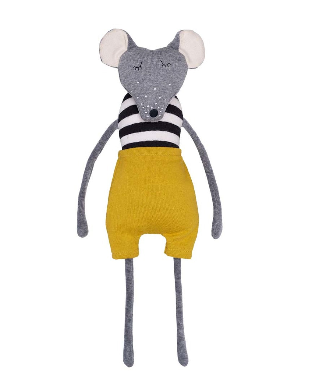 Soft Toy Mouse with  Yellow shorts T-83-M-05 Wooly Organic