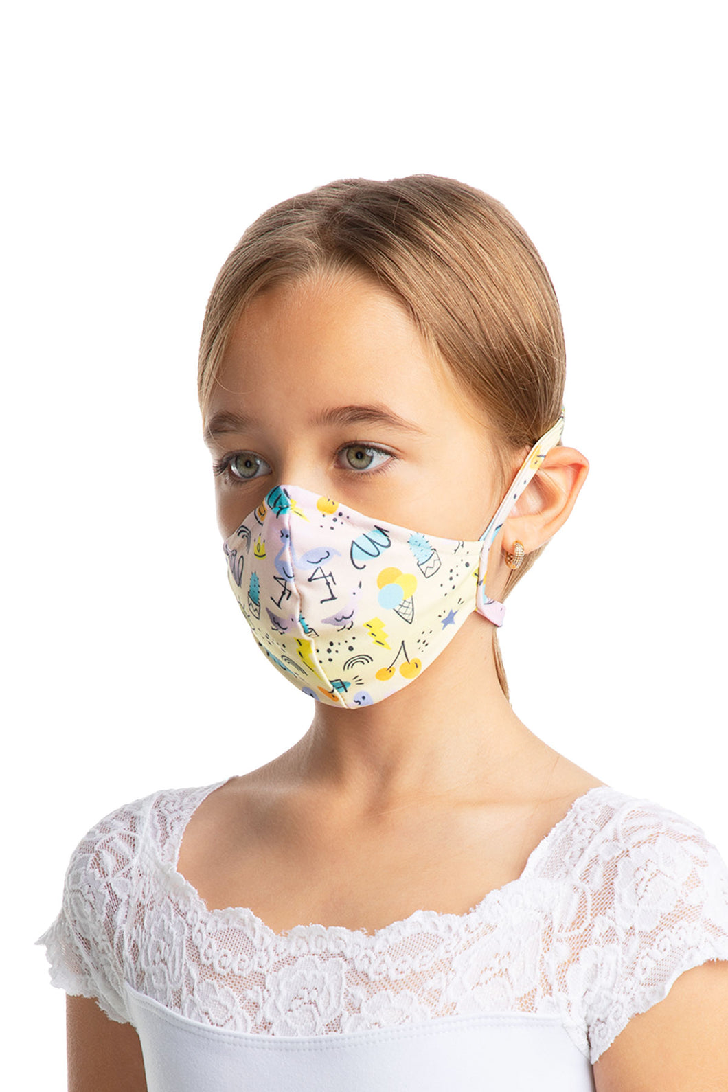 Child Unisex Fitted Face Mask With Head Ties - L2179