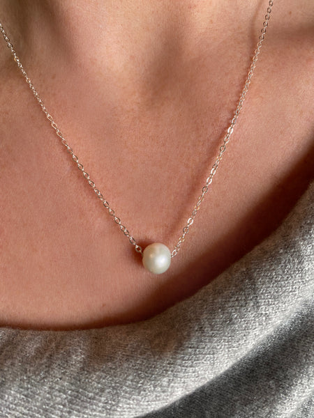White Pearl on Silver Chain Necklace