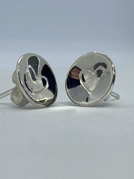 Heart Stamped Silver Dome Earrings