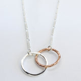 Copper and Silver Interlocking Circles Necklace