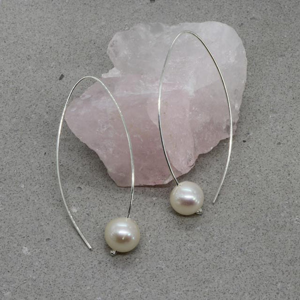 White Pearl Hook Earrings (large)