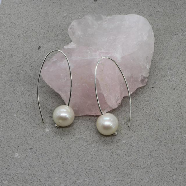 White Pearl Hook Earrings (small)