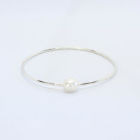 White Pearl Bangle Bracelets