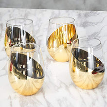 Load image into Gallery viewer, Modern Brass Stemless Wine Glasses, Set of 4