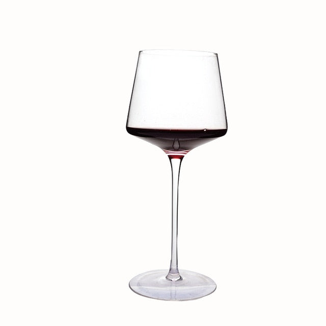 Angular red wine glass