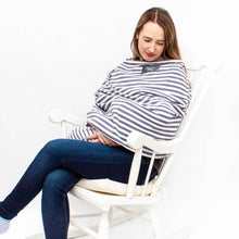 Load image into Gallery viewer, Grey and White Stripe Cover Me- Multi-Use Breastfeeding Cover