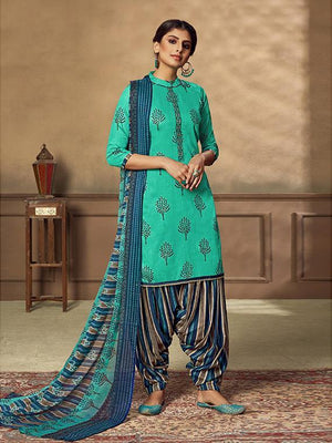 Zam Foil Printed Neck Embroidery Suit