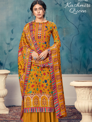 Kashmiri Queen Pure Wool Pashmina Digital Kashmiri Print - Zasha Clothing