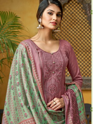 Nazm Pashmina Self Print with Fancy Kashmiri Embroidery Work - Zasha Clothing