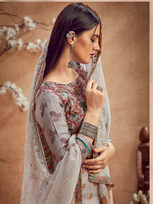 Rivaaz Kashmiri Print with Swarovski Diamond Work