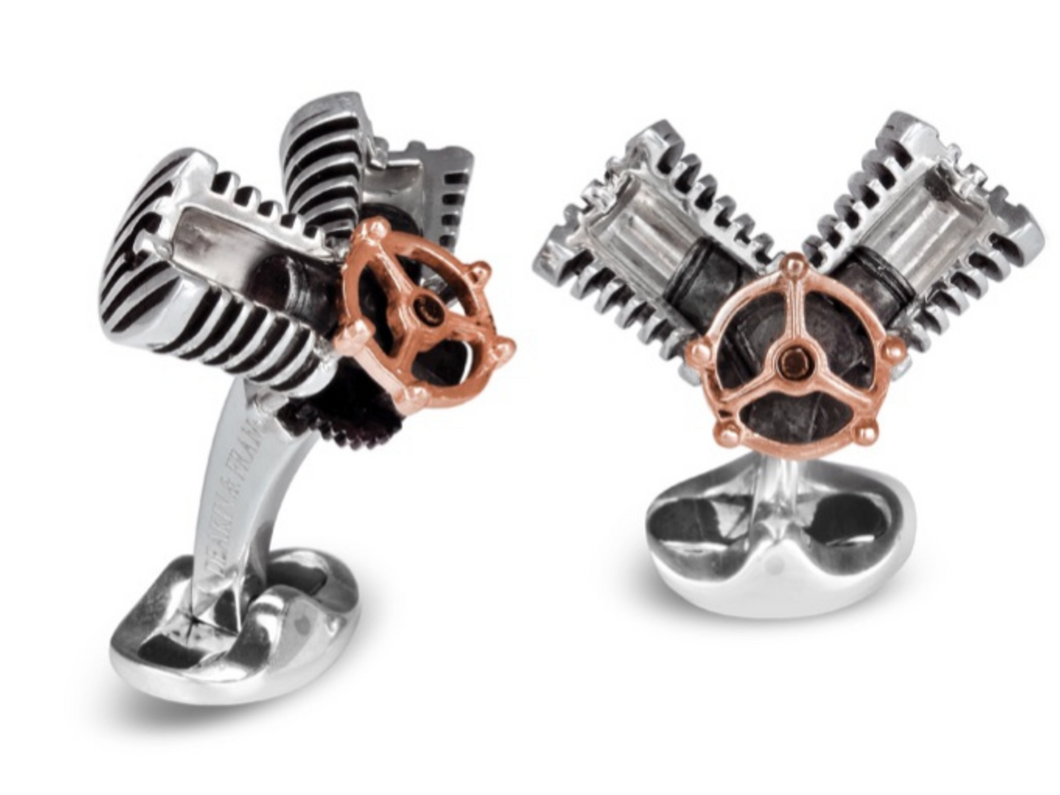 Sterling silver piston cufflinks