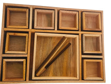 Load image into Gallery viewer, Mahogany Sorting Tray - 9 Compartments with Tongs