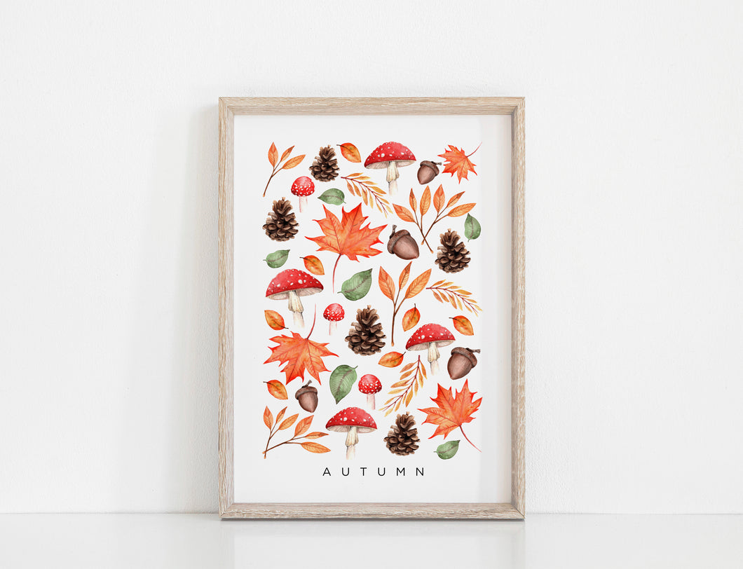 Floral & Fern - Seasons - Autumn Art Print A3