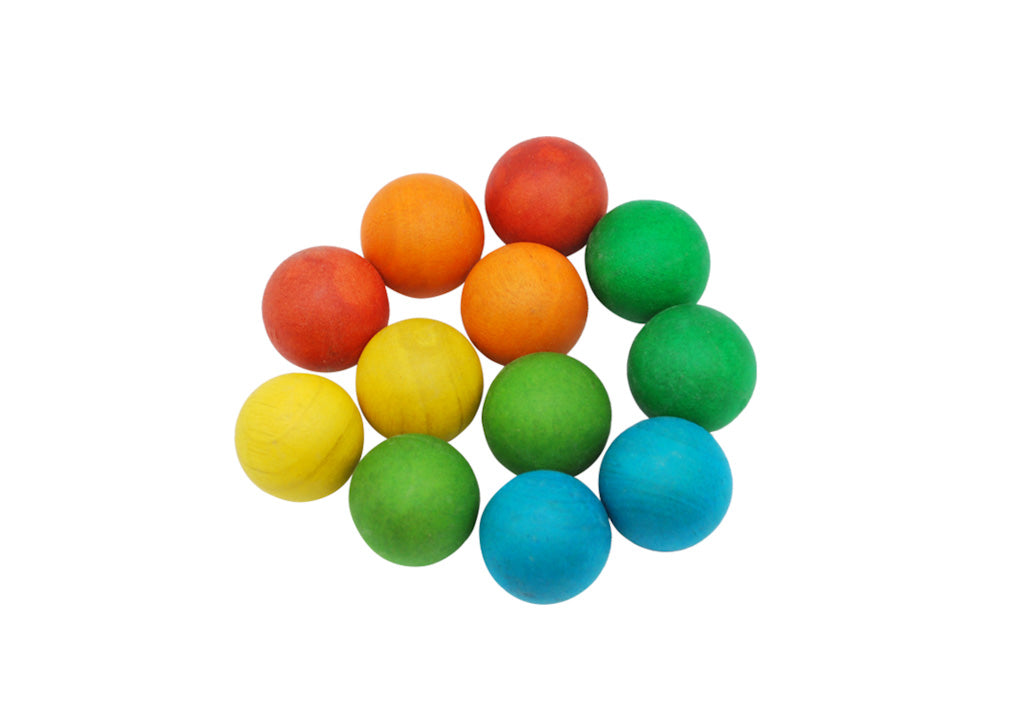 35mm Coloured Wooden Balls - Set of 12