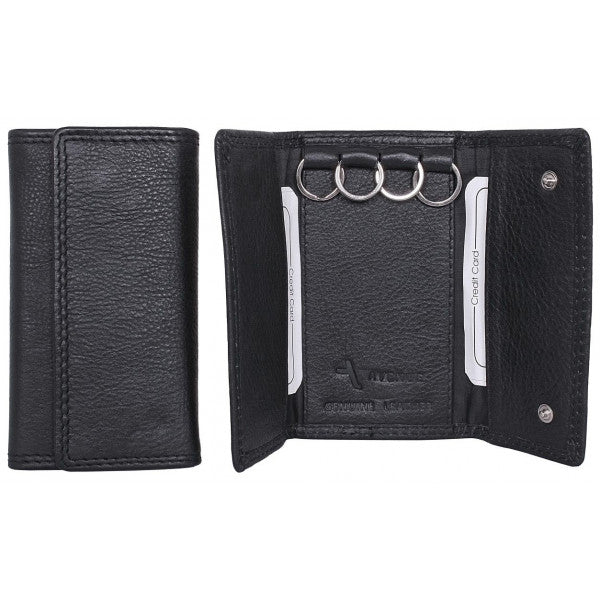 Avenue Black Leather Keycase