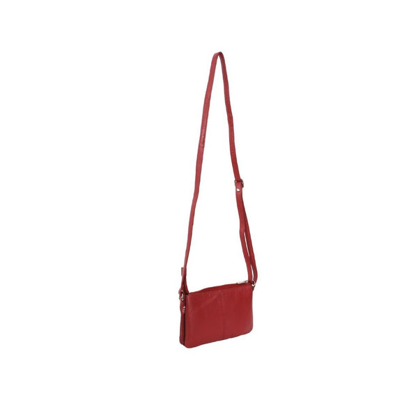 Avenue 'Maya' Small Double Leather Handbag/Red