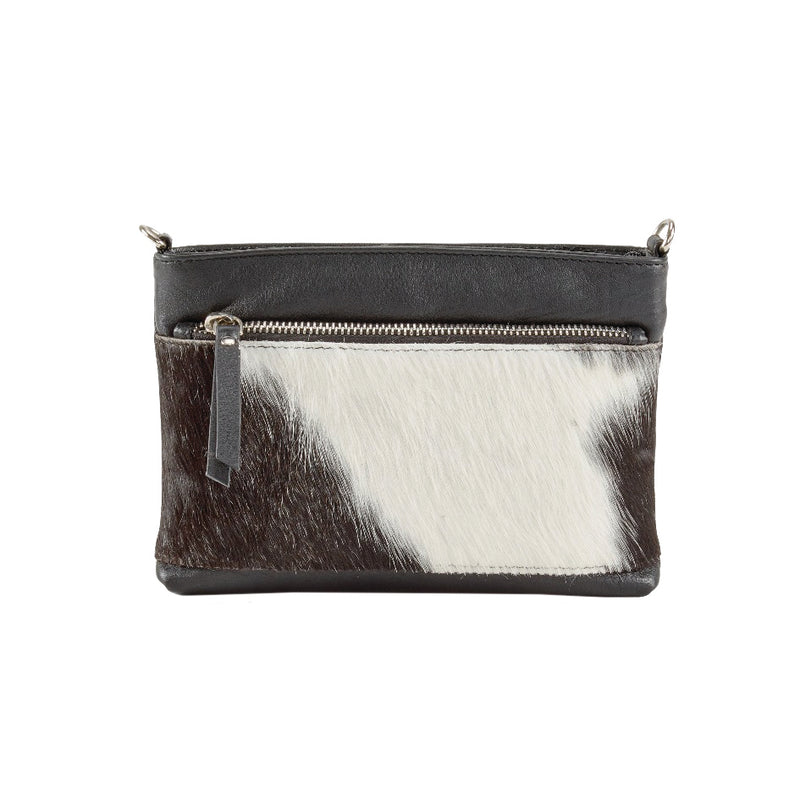 Avenue Hunter Small Handbag Cowhide Black/White