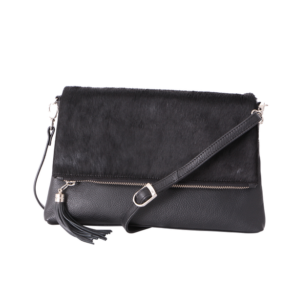 Avenue Hunter Flap Over Handbag Cowhide Black