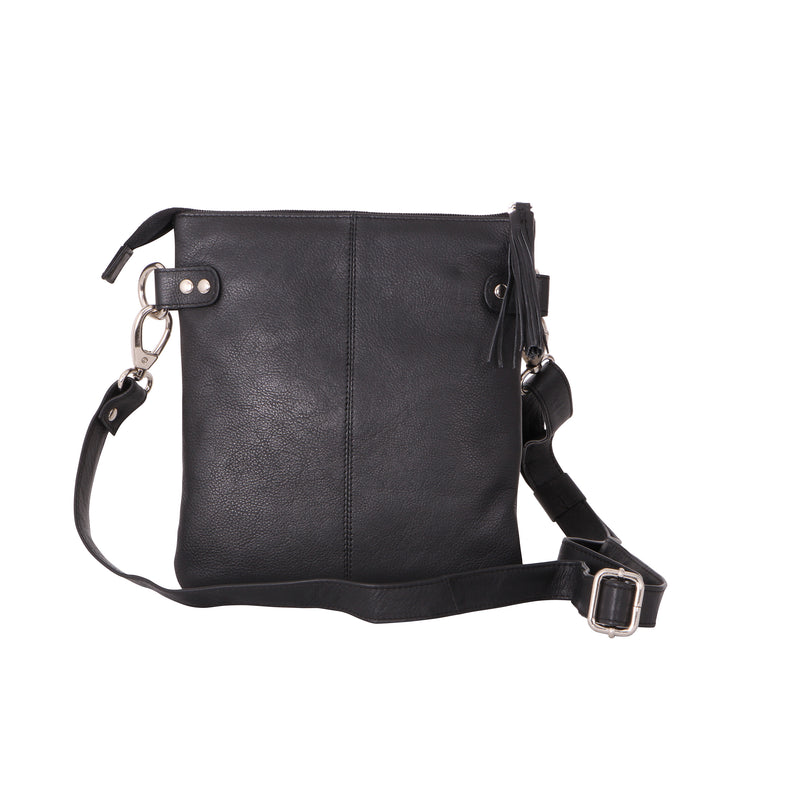 Avenue Zabbie 'zed' Leather Slim Cross Body Bag Bl