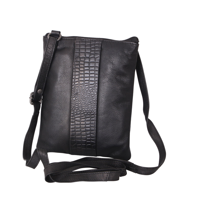 Avenue Lana Zed Leather Cross Body Bag Black Croc