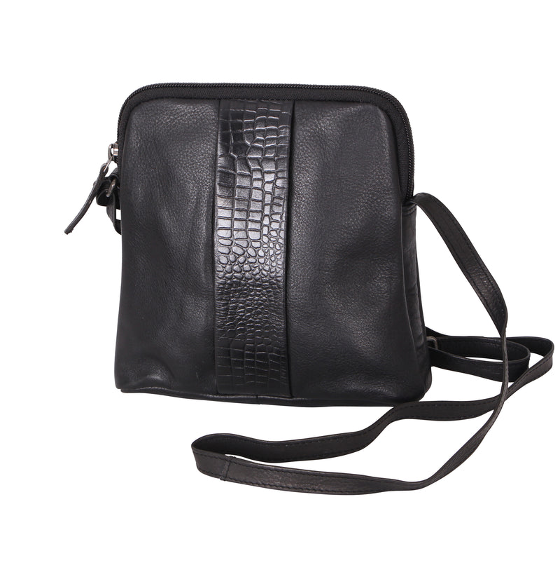 Avenue Lora Zed Leather Handbag Croc Black