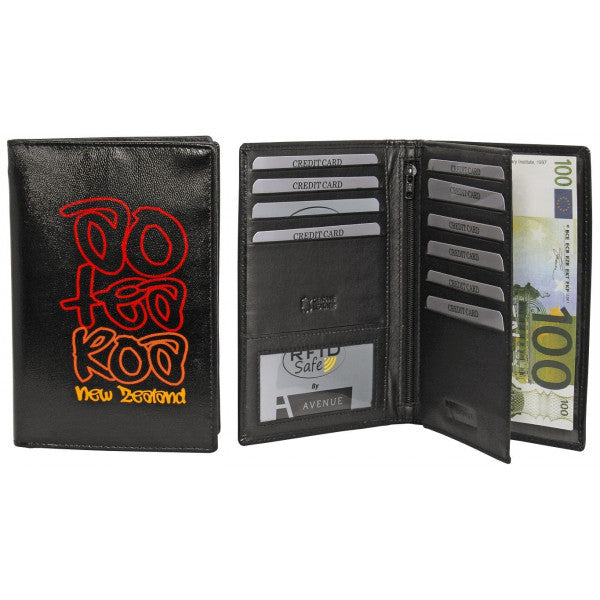 Avenue Leather Souvenir Passport Wallet Rfid Lined Aotearo