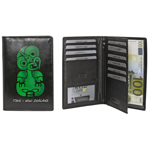 Avenue Leather Souvenir Passport Wallet Rfid Lined Tiki