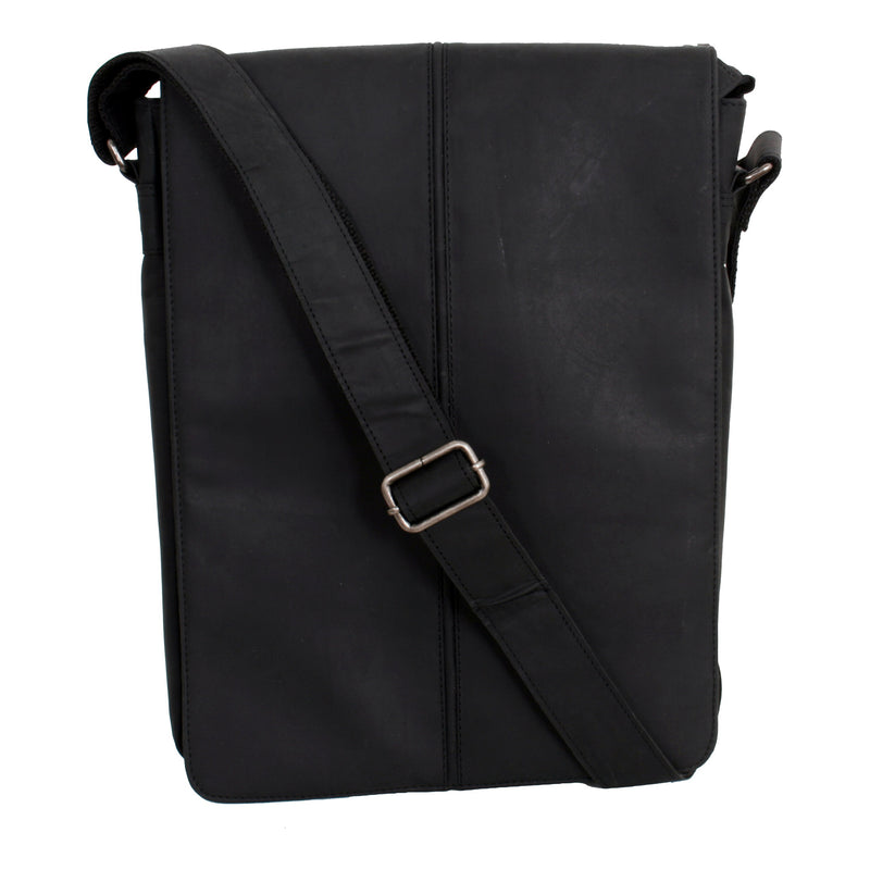 Avenue Hunter Leather Messenger Bag Black