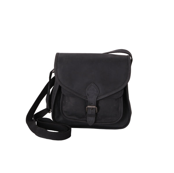 Hunter Leather Black Cross Body Satchel