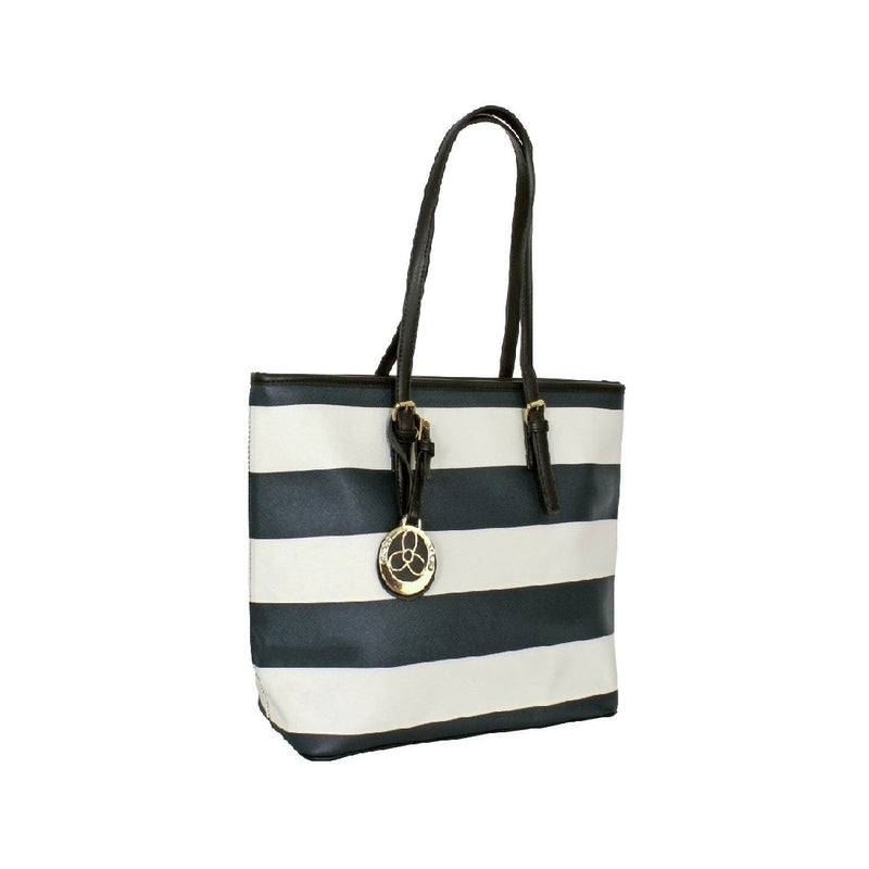Avenue Faux Leather Handbag Striped Navy/white