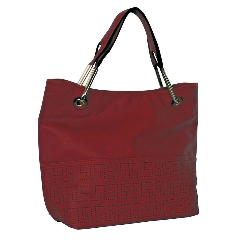Avenue Faux Leather Handbag Red 2