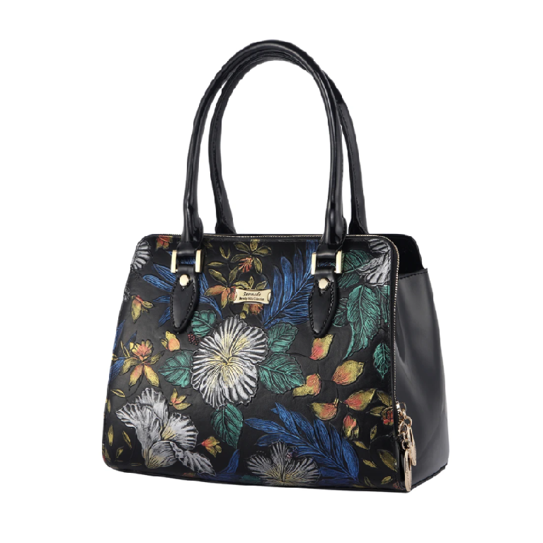 Serenade Blue Illusion Hand painted Leather Handbag